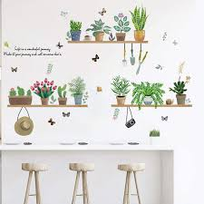 Amazon Com Green Plant Wall Decals Stickers For Kitchen Dinning Room Decor Potted Plants Cactus Nature Vinyl Sticker Peel And Stick Decal For Home Decoration Kitchen Dining