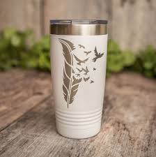Bird Feather Engraved Stainless Steel Tumbler Stainless Cup Cute Cup 3c Etching Ltd