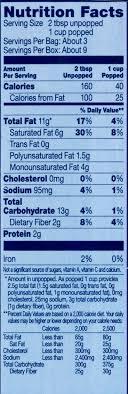 pop secret popcorn nutrition label