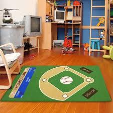 Amazon Com Furnish My Place 710 Baseball 3 3 X5 Play Area Rug For Kids Playroom Bathroom Kindergarten Classroom Anti Skid Rubber Backing Green Furniture Decor