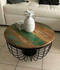 vintage round coffee table retro rustic