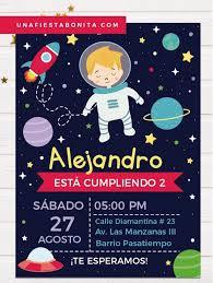 Invitacion Para Cumpleanos Tematica Astronauta Invitaciones De