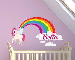 Indulge Your Children S Wonderful And Magical Imagination With This Rainbow Unicorn Name Wall Sticker Wall Decals Wall Stickers Wall Quotes Express Yourself Decals