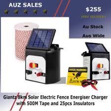 Giantz 5km 0 15j Solar Electric Fence Energiser Energizer Charger With 400m Tape Auz Sales Online
