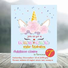 Invitacion De Cumpleanos Magica Editable De Unicornio De Invierno