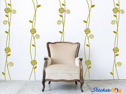 Roses Vines Floral Pattern Stripes Wall Decals Graphic Vinyl Sticker Bedroom Living Room Wall Home Decor
