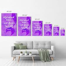 Mermaid Kisses And Starfish Wishes Motivational Quote Wall Art Smile Art Design