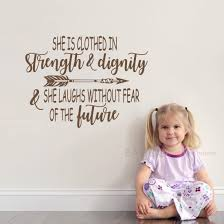 Amazon Com Battoo Scripture Wall Decals She Is Clothed In Strength And Dignity Christian Baby Girl Nursery Bible Verse 40 W 30 H Vinyl Wall Decal Sticker Dark Brown Home Kitchen