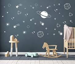 Amazon Com Planet Wall Decal Boys Room Decor Outer Space Wall Decals Star Wall Stickers Vinyl Wall Decals For Children Baby Kids Boys Bedroom Nursery Decor Y04 White Home Kitchen