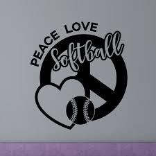Enchantingly Elegant Peace Love Softball Wall Decal Wayfair