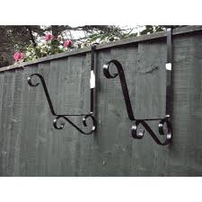 New Pair Of Trough Bracket Over The Fence Post Panel Scroll Design Hook