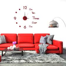 3d Wall Clock Stickers Quartz Needle Acrylic Mirror Diy Art Horologe Red Revista Nueva