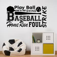 Sports Wall Decal Baseball Word Collage Kids Lettering