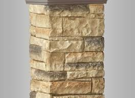 Deckorators Beige Stacked Stone Post Cover For Deck Railings Decks Com