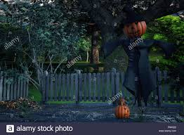 Scarecrow With A Pumpkin Head In A Pumpkin Patch 3d Render Stock Photo Alamy