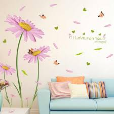 Pink Daisies Wall Sticker Pvc Material Diy Waterproof Wall Decals For Living Room Bedroom Sofa Background Decor Murals Wall Stickers Aliexpress