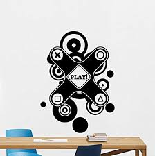 Amazon Com Video Game Wall Decal Playstation Gaming Vinyl Sticker Joystick Gamepad Game Wall Art Design Teen Room Gaming Room Wall Decor Kids Room Housewares Bedroom Decor Removable Wall Mural 72rt Home