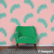 Palm Fronds Wall Decal Fern Motif Botanical Pattern Tropical Decor Vintage 80s Retro Eighties Palm Leaf Pattern Tropical Leaves