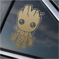 Amazon Com Stick Emall Baby Groot Metallic Gold Vinyl Decal Automotive