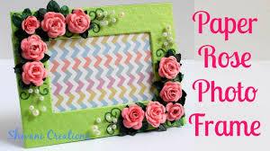 paper rose photo frame diy photo frame