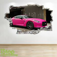 Pink Mustang Wall Sticker 3d Look Boys Kids Bedroom Supercar Wall Decal Z735 Ebay
