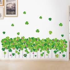 Green Plant Wall Sticker Diy Clover Wall Stickers Modern Art Vinyl Decal Wall Mural Bathroom Living Room Fence Decor Wish