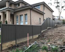 Colorbond Fence With Timber Sleepers Kieran Fences Pergolas Facebook