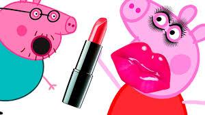 puts a makeup on peppa pig cartoon