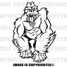 Cartoon Gorilla Custom Personalized Single Color Vinyl Decal Just Add Text To Make It Your Own
