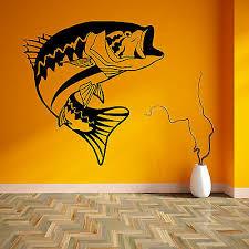 Big Mouth Bass Fish Fishing Swimming Jumping Vinyl Wall Art Sticker Decal Ebay