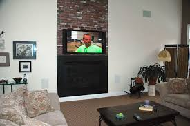 above fireplace mounted tv