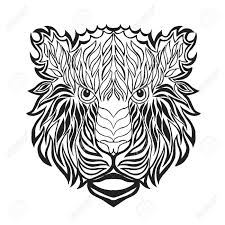 Tiger Head Adult Antistress Coloring Page Black White Hand