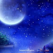 藍色唯美月亮星星背景設計, 小船, 繁星, 星空星河星球背景圖片免費下載