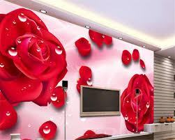 مخصص الحديثة الزفاف خلفية 3d خلفيات قطرة الماء الأحمر بتلات ورد