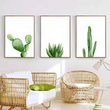 watercolor cactus wall art canvas