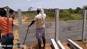 Installation Of Precast Concrete Fence Post Diy In 2020 Concrete Fence Concrete Fence Posts Fence Wall Design