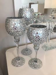 3 silver mosaic goblet t light holders