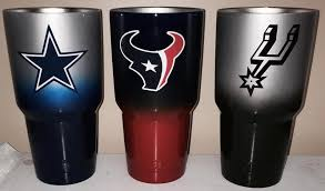 Dallas Houston Texans Spurs 30oz Yeti Cups Lonestar Concepts Design Lonestarjess15 Yahoo Com In 2020 Yeti Cup Designs Cup Decal Glitter Tumbler Cups