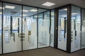 Buildings Displayed On Office Glass Walls With Frosted Vinyl