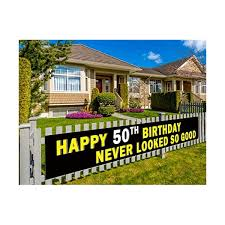 9 8 X 1 5 Feet Colormoon Large 50th Happy Birthday Banner 50th Birthday Party Supplies Decorations Birthday Anniversary Sign Mosulspace Org