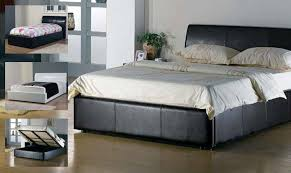 brown leather double ottoman bed frame