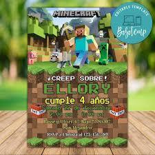 Invitacion De Cumpleanos De Minecraft Para Imprimir Descarga