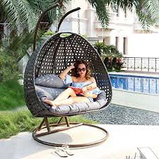 luxury 2 person wicker swing chair