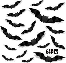 Amazon Com Halloween 3d Bats Decoration Realistic Pvc Scary Bats Window Decal Wall Stickers For Diy Home Bathroom Indoor Hallowmas Decoration Party Supplies 64pcs Kitchen Dining