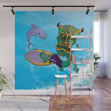 Tiki Surfer Wall Mural By Fizzgig Society6