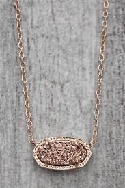 elisa rose gold drusy necklace