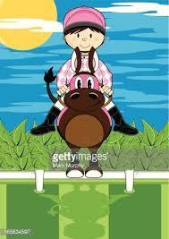 Horse Jockey Jumping Fence Clipart Image