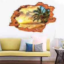 3d Effec Broken Wall Mural Home Decor Diy Vivid Sunset Scenery Seascape Island Coconut Trees Wall Stickers Pvc Art Decals White Wall Decals White Wall Stickers From Caronline 25 68 Dhgate Com