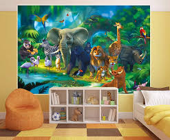 Wall Mural Jungle Animals Children Room Animal Decoration Boy And Girls Wallpaper Kids Poster Safari Tiger Lion Monkey Buy Wall Mural Jungle Animals Children Room Animal Decoration Boy And Girls Wallpaper Kids Poster