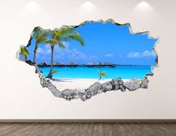Beach Wall Decal Summer Palms 3d Smashed Wall Art Sticker Etsy